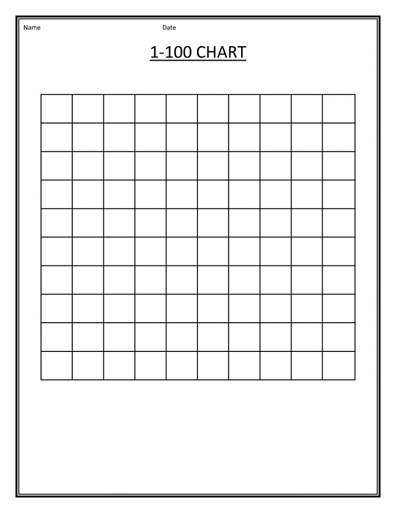 blank number chart 1-100 printable