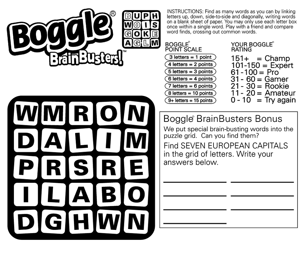 picture regarding Word Game Printable named Printable Boggle Term Sport K5 Worksheets