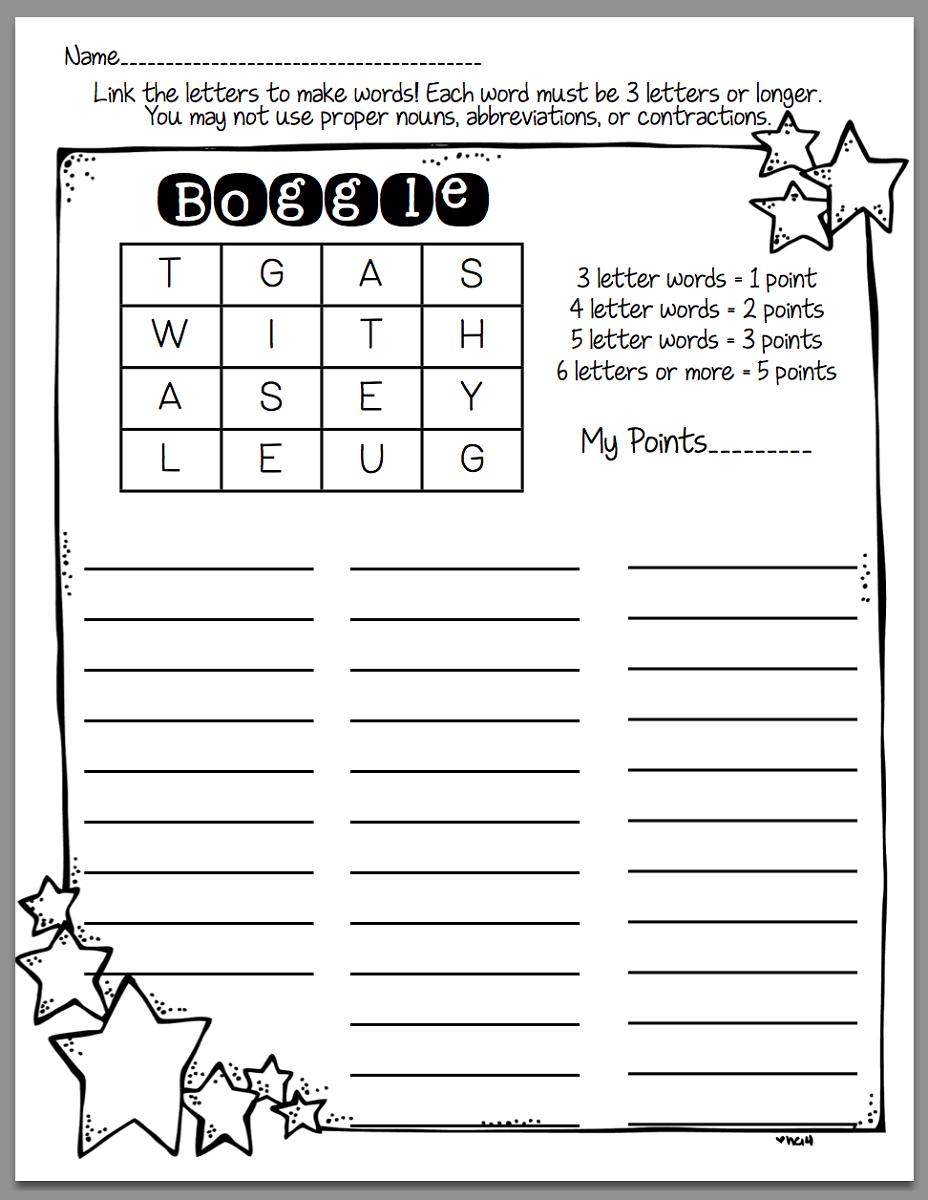 boggle word game printable