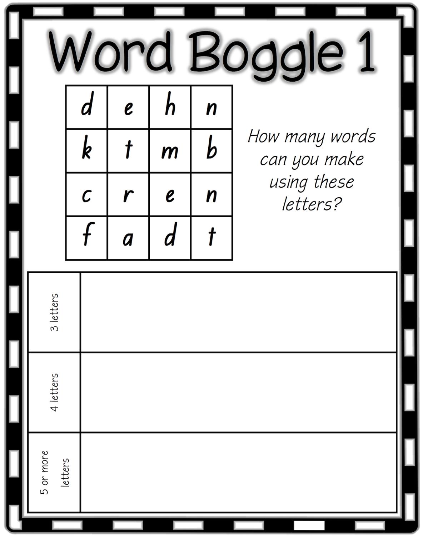 boggle word game worksheet