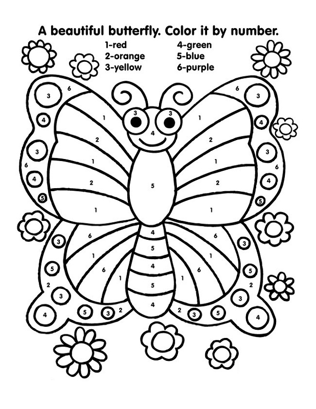color by numbers worksheets butterfly