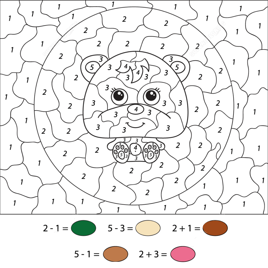 color by numbers worksheets cute