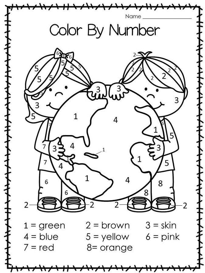 color by numbers worksheets earth