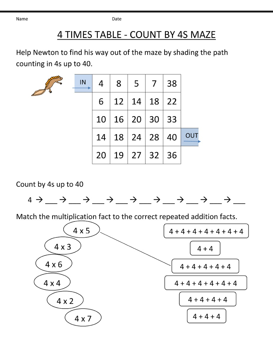 count by 4s worksheet