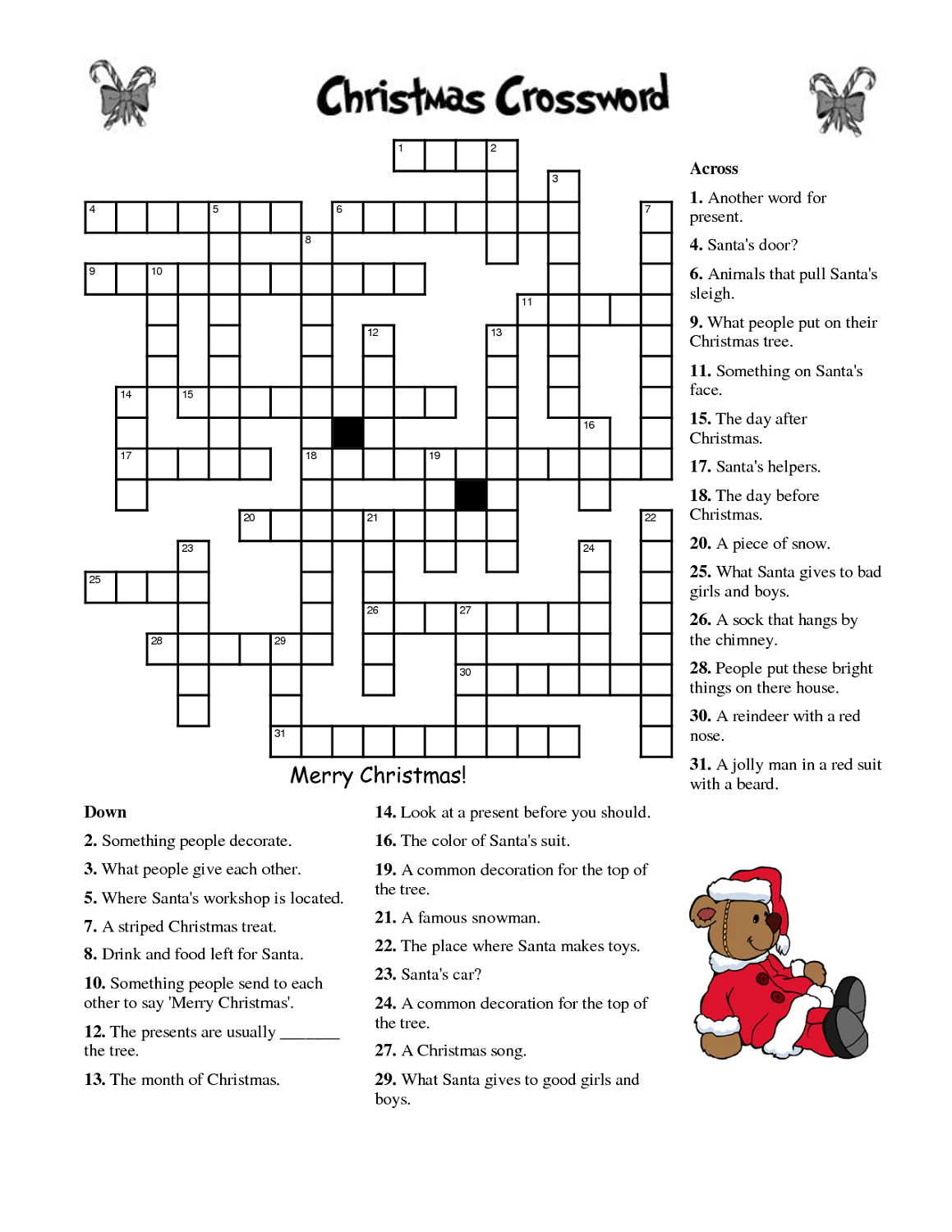 crosswords for kids christmas