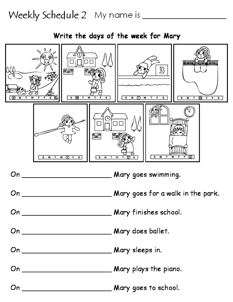 days of the week worksheets free