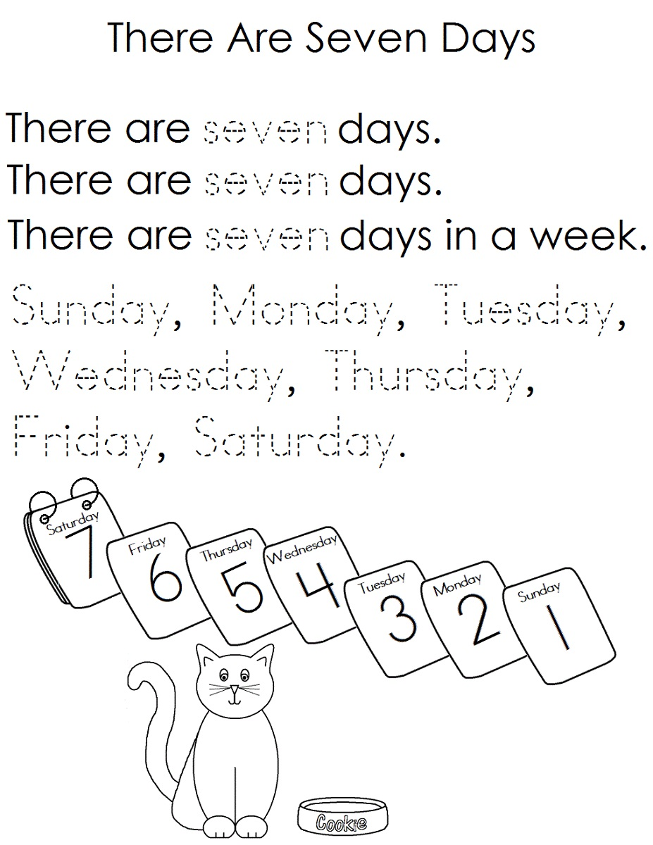 days of the week worksheets printable