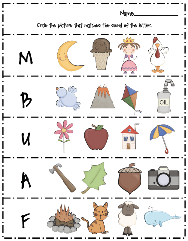 free letter worksheets matching