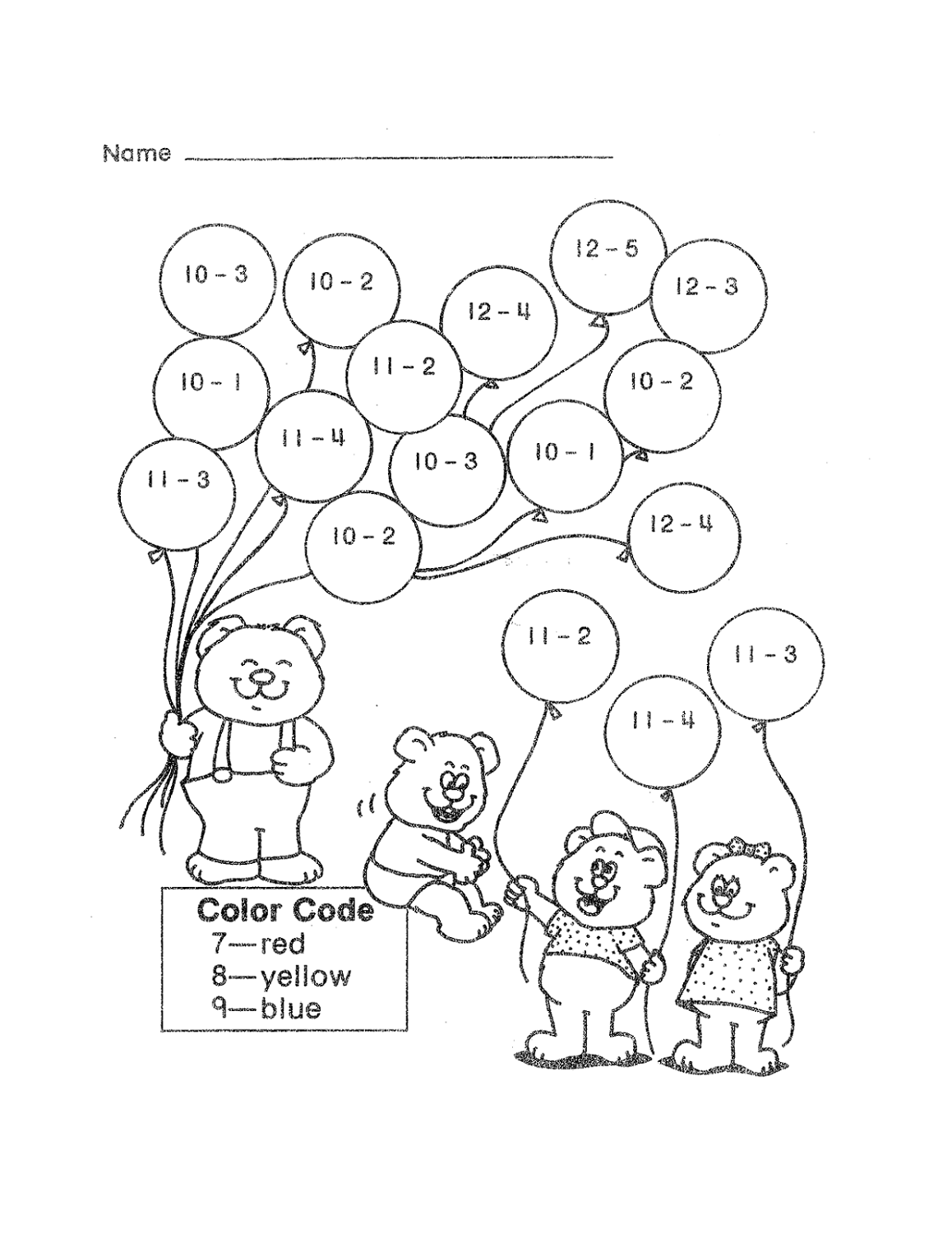 fun math sheets balloon