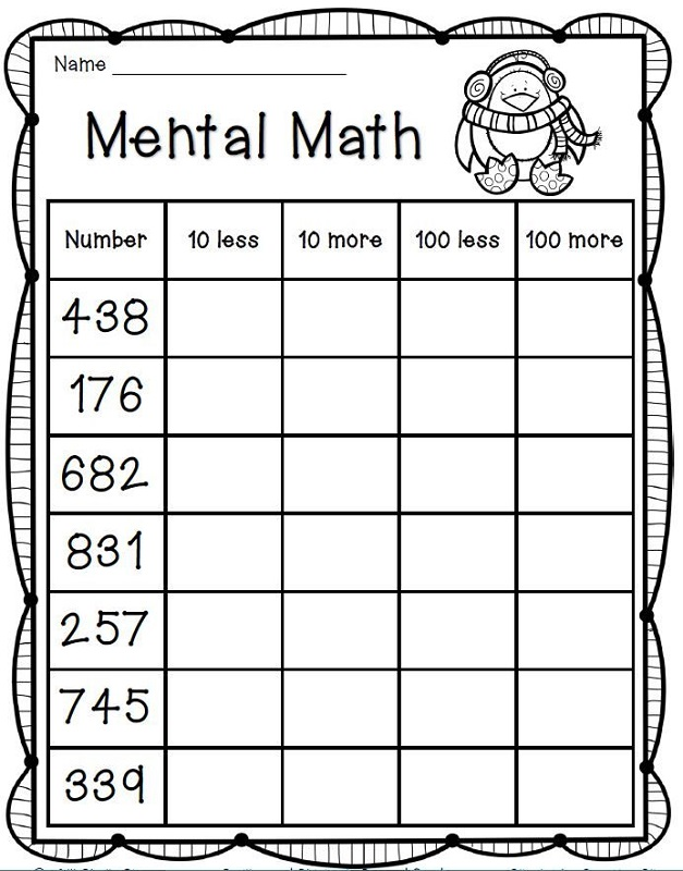fun mental math sheets