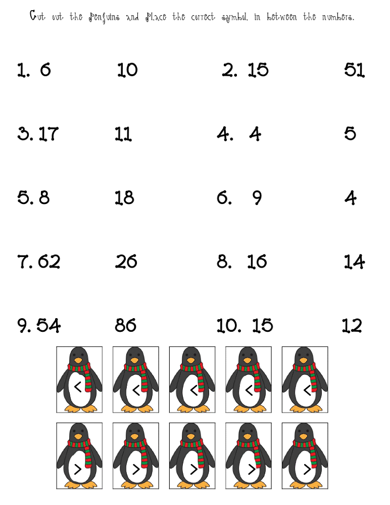fun math sheets penguin