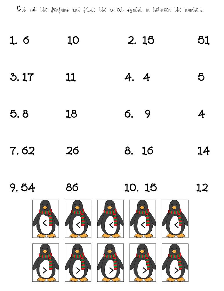 fun math sheets penguin