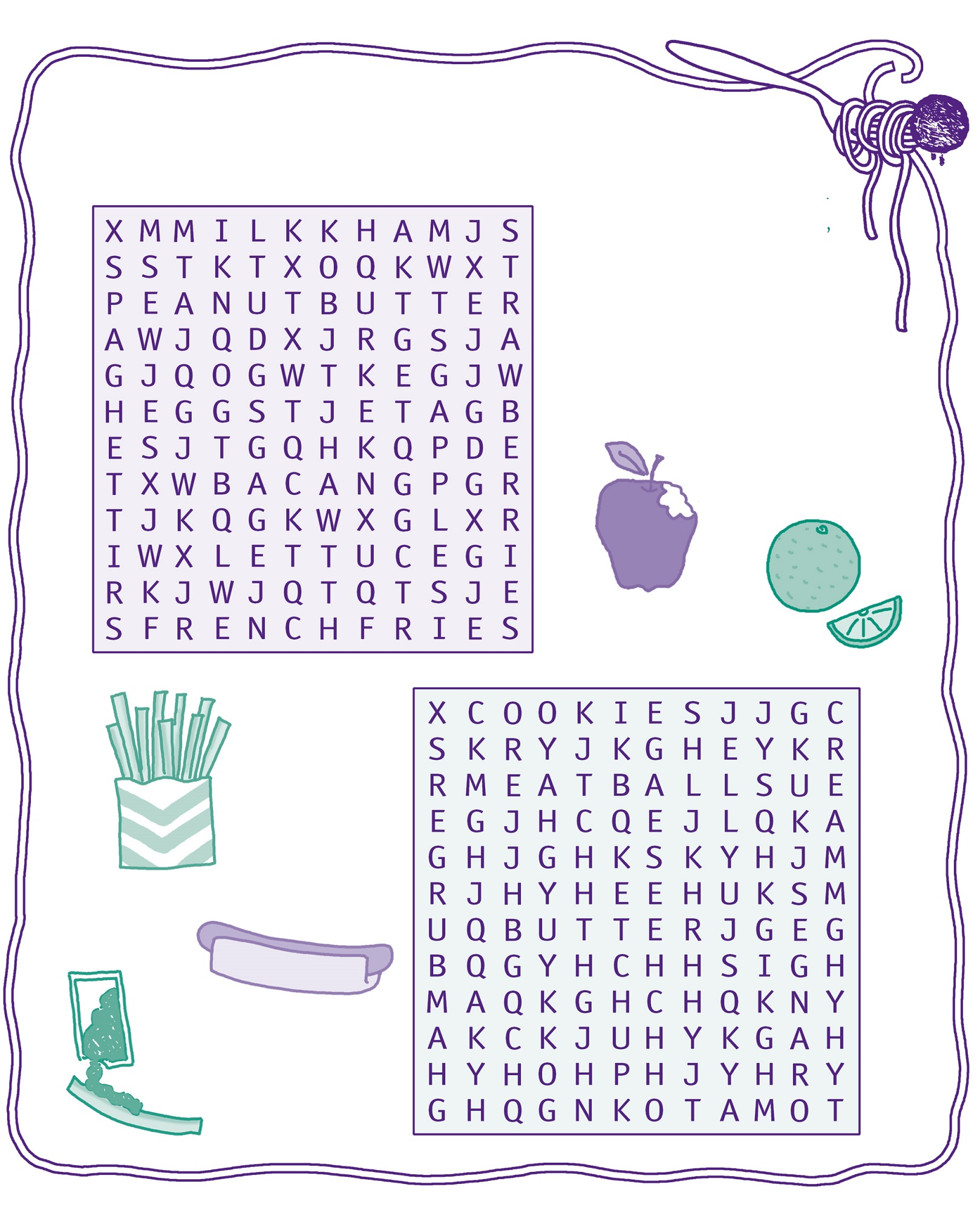 kid word search puzzles food