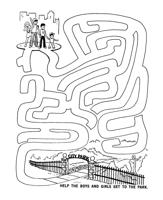 kids activity sheets park