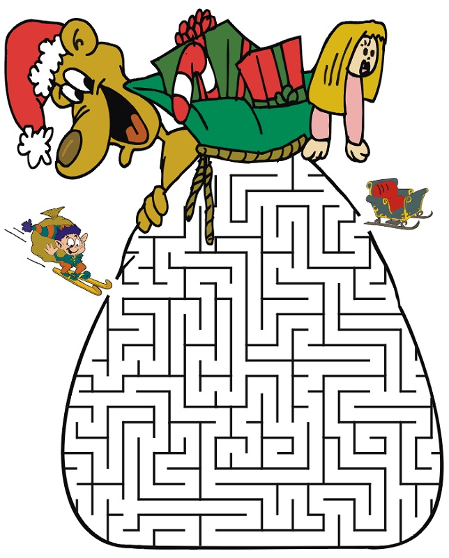 maze puzzles for kids christmas