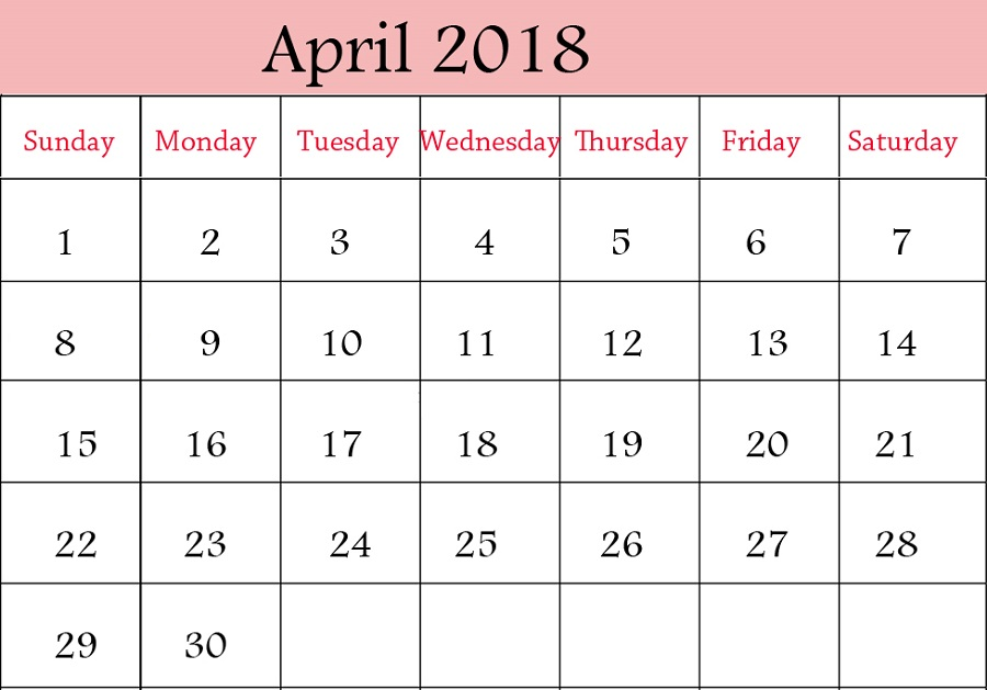 monthly 2018 calendar printable april