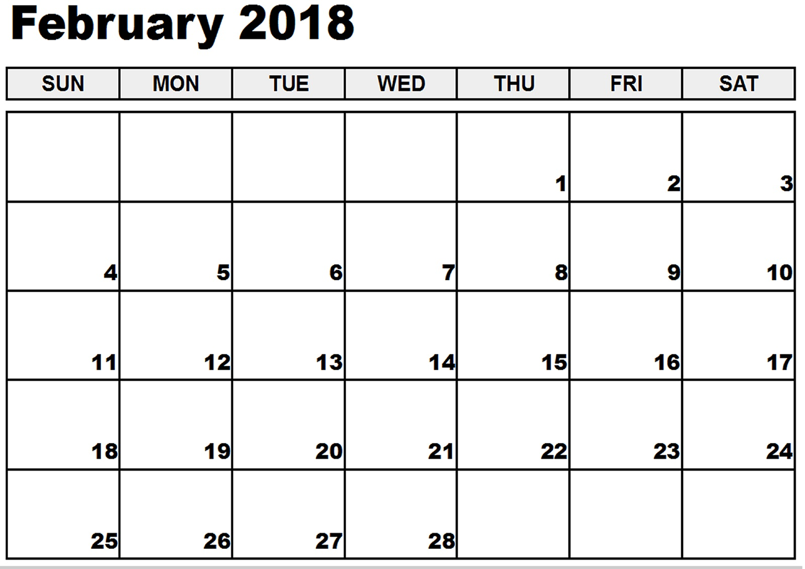 monthly 2018 calendar printable february