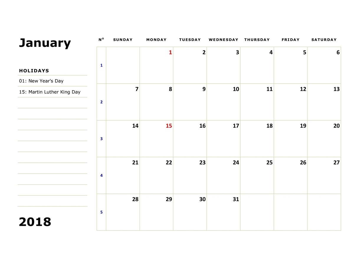 monthly 2018 calendar printable january