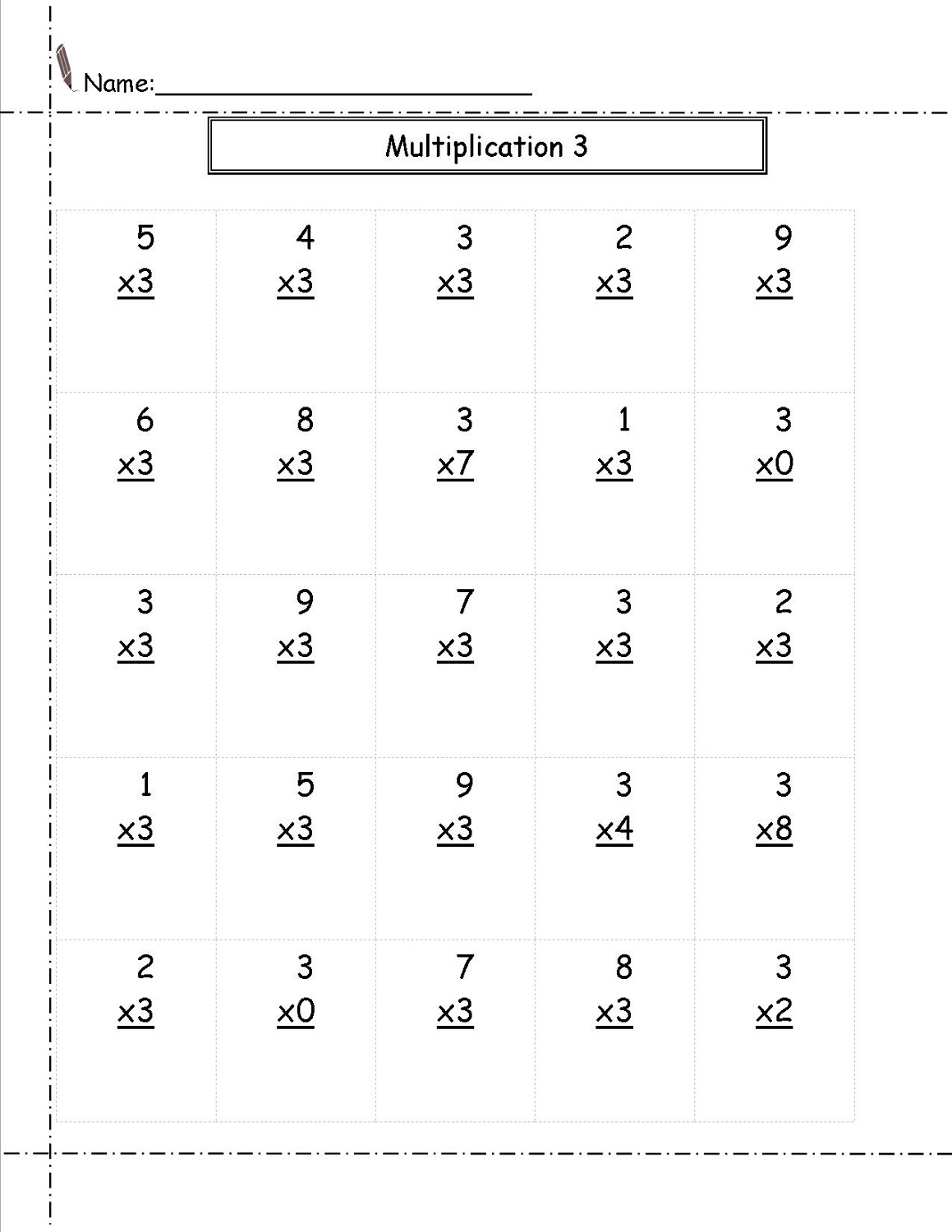 multiply by 3 worksheet free