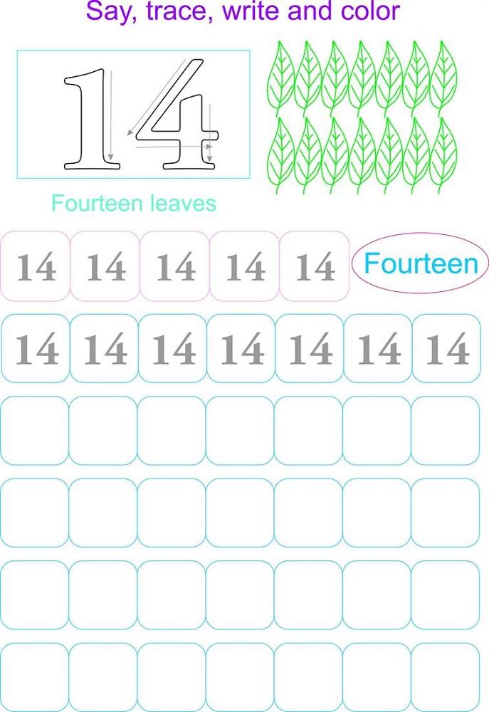 number 14 worksheet free