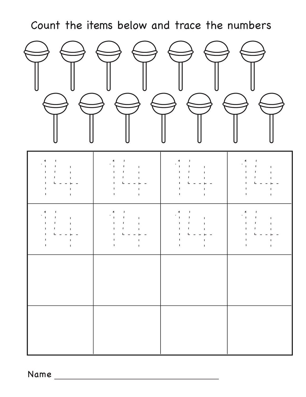 number 14 worksheet kindergarten