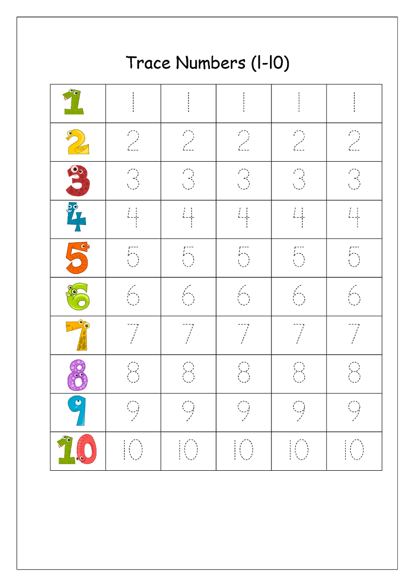 number trace worksheet colorful