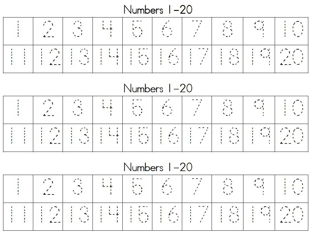number trace worksheet free