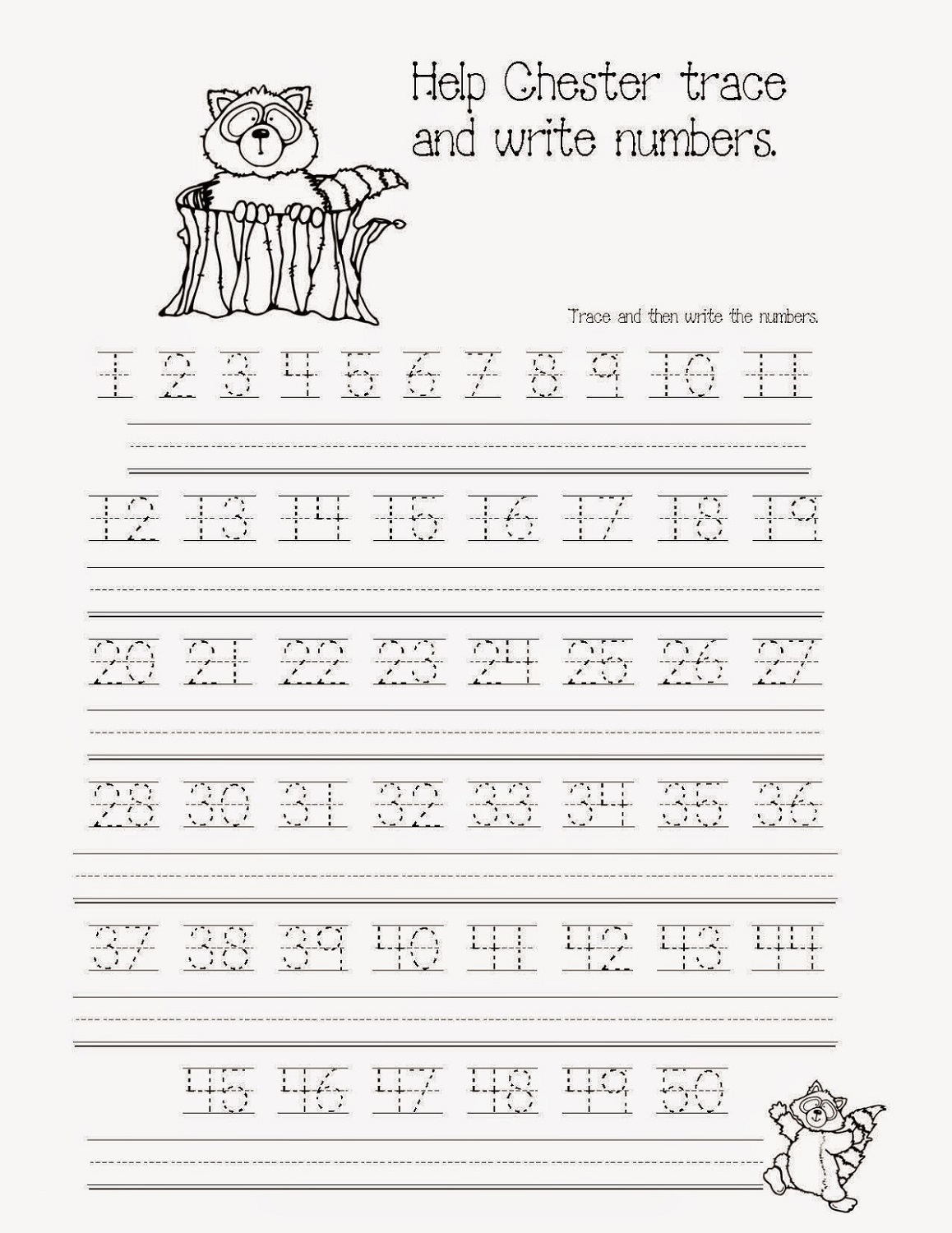 number trace worksheet preschool