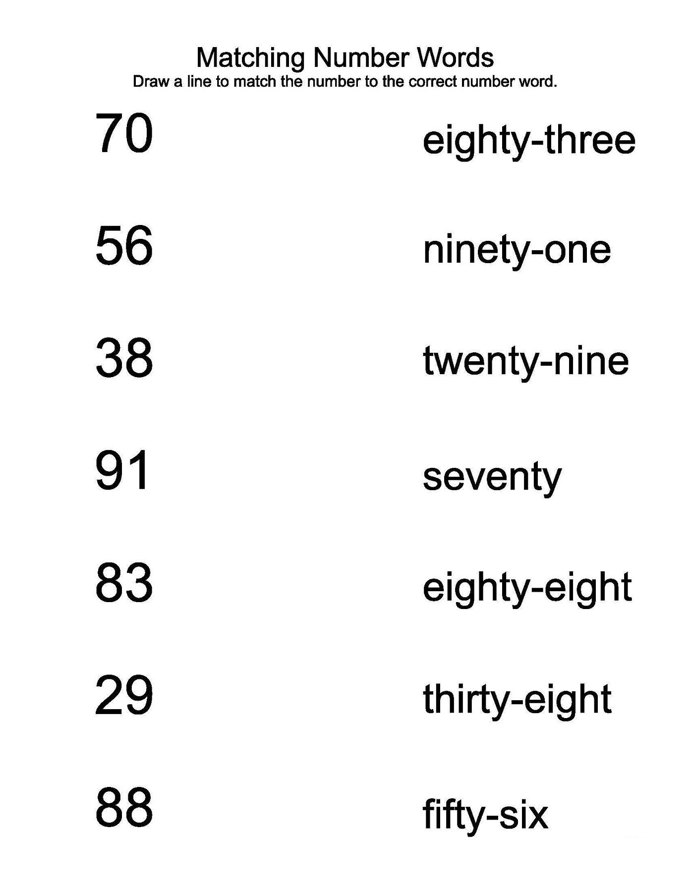 number words worksheet matching