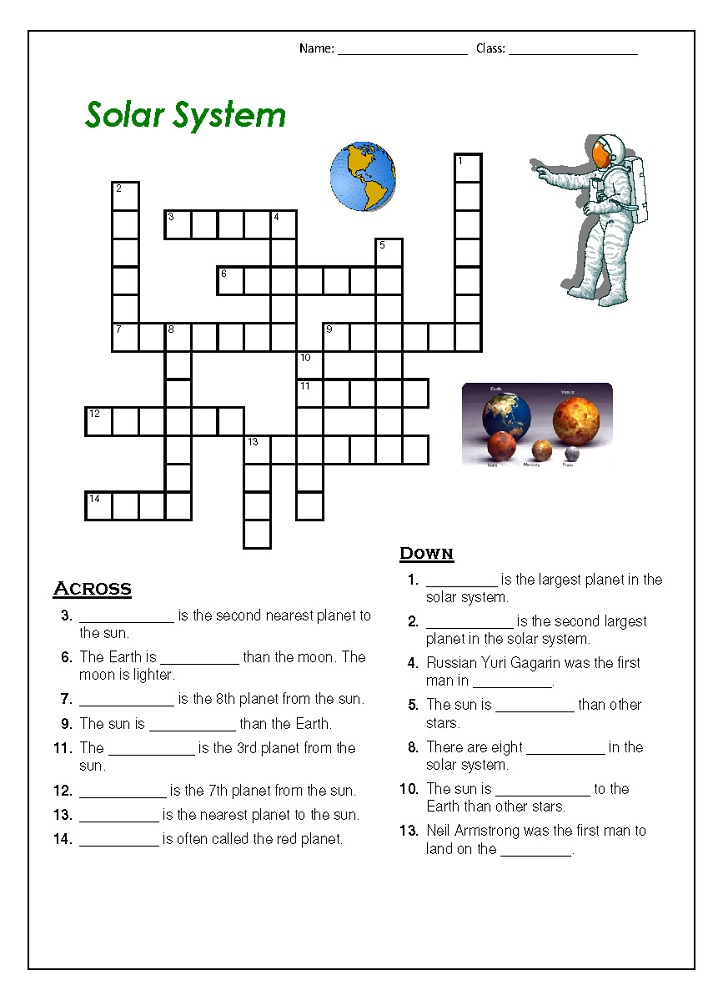 outer space worksheets for kids crossword