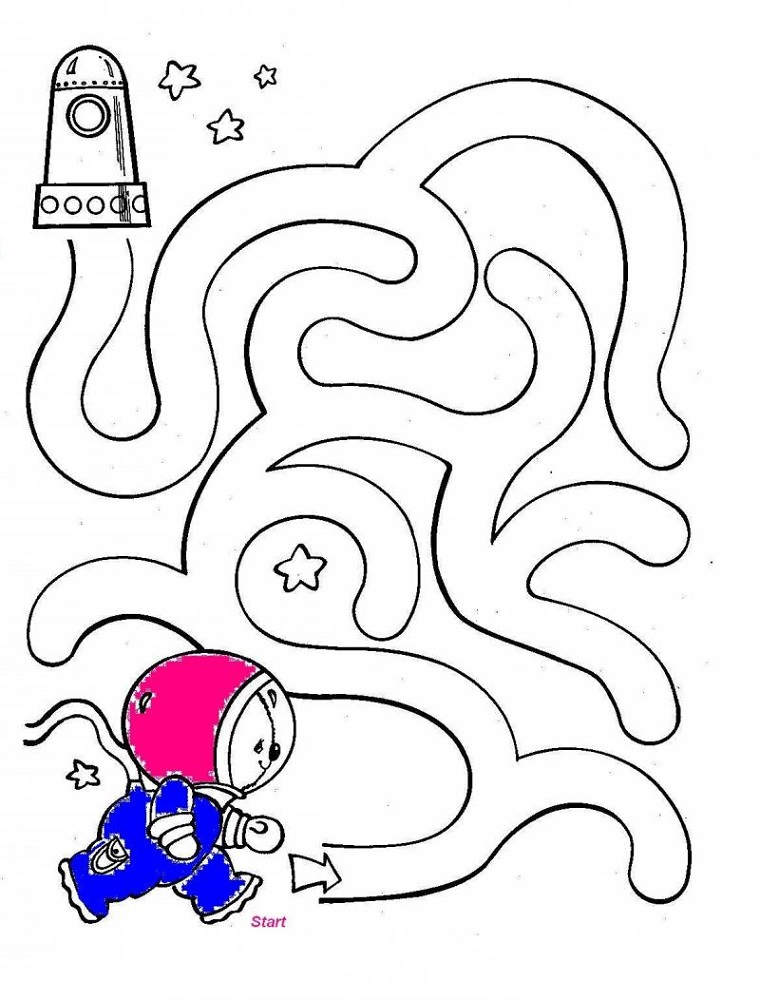outer space worksheets for kids maze | K5 Worksheets