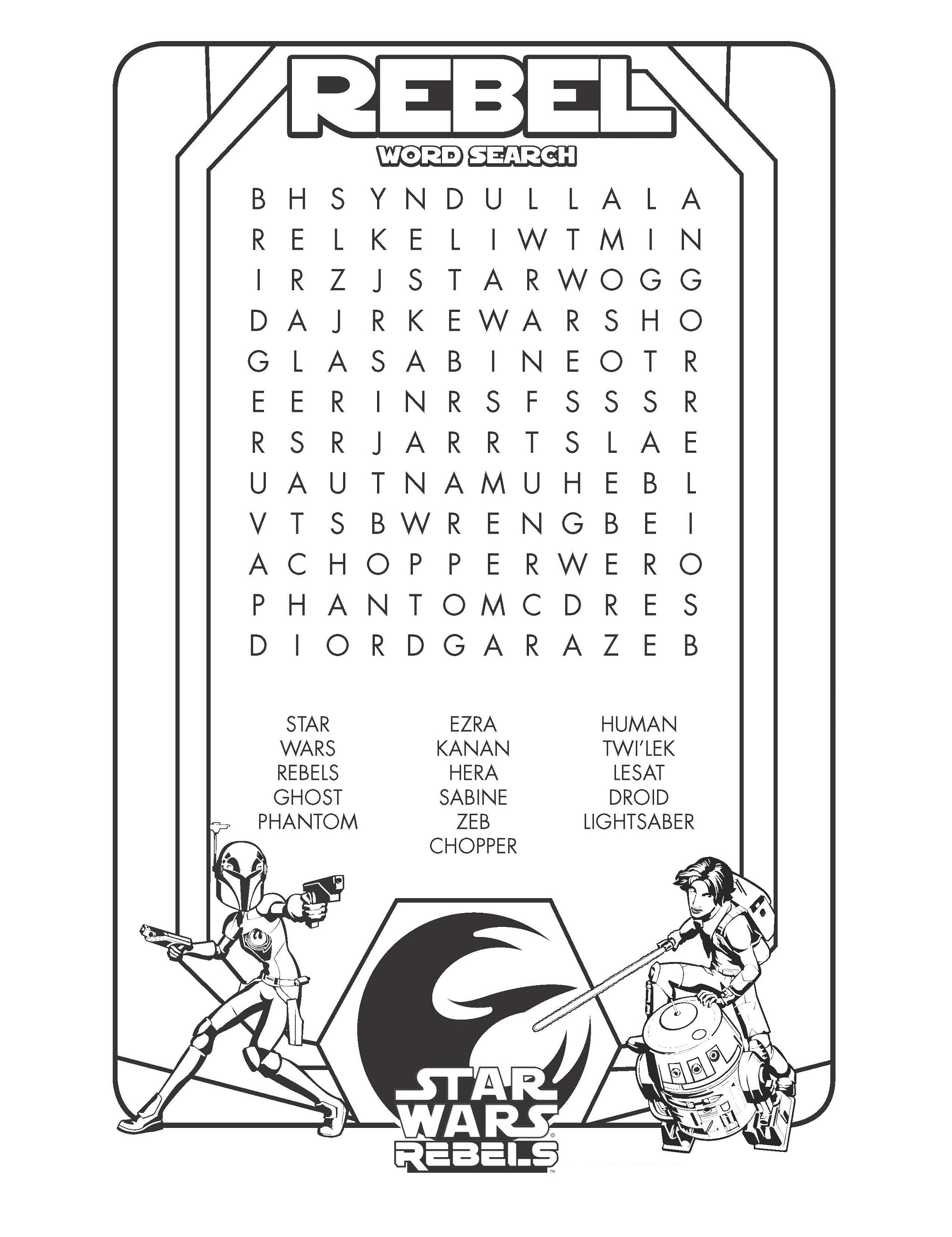 star wars word search easy