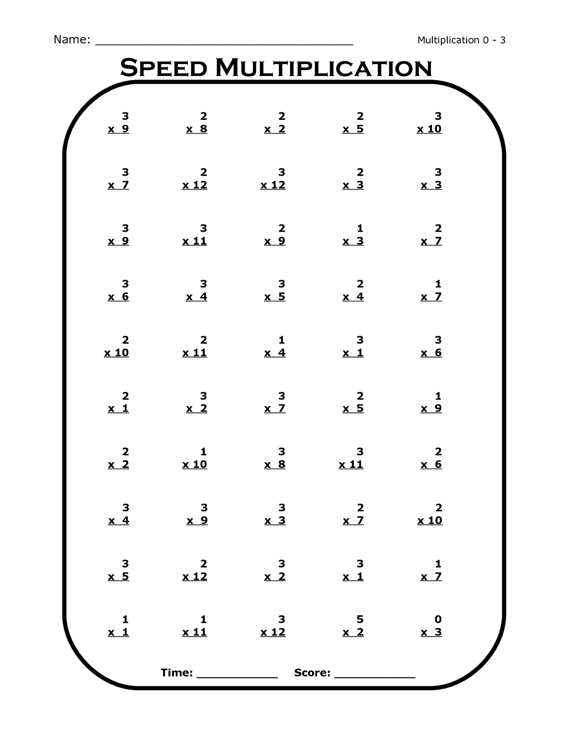 time tables worksheet to print