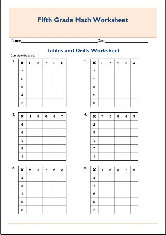 times table drills for kids