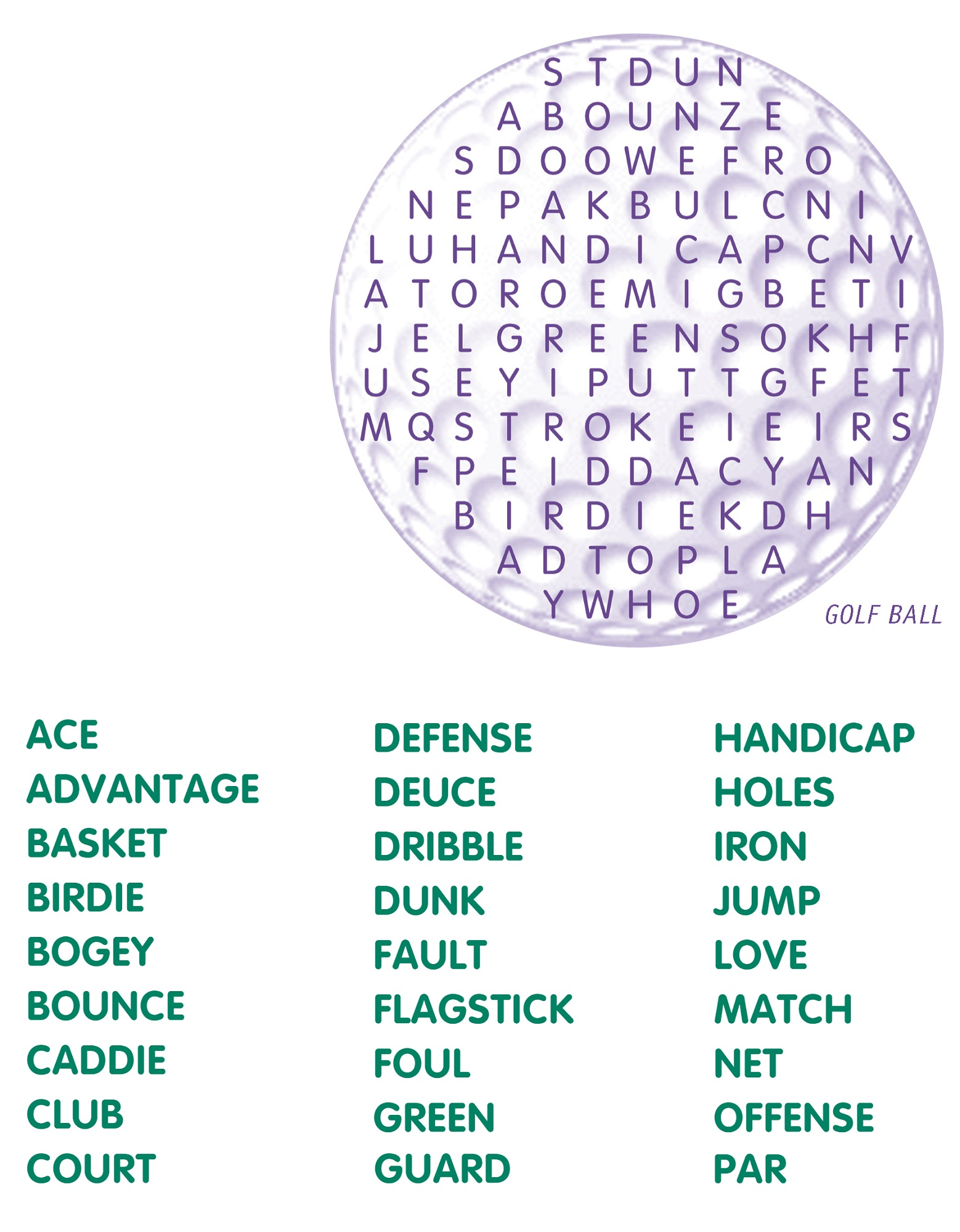 word search puzzles for kids golf