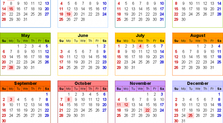 yearly calendar 2018 printable colorful