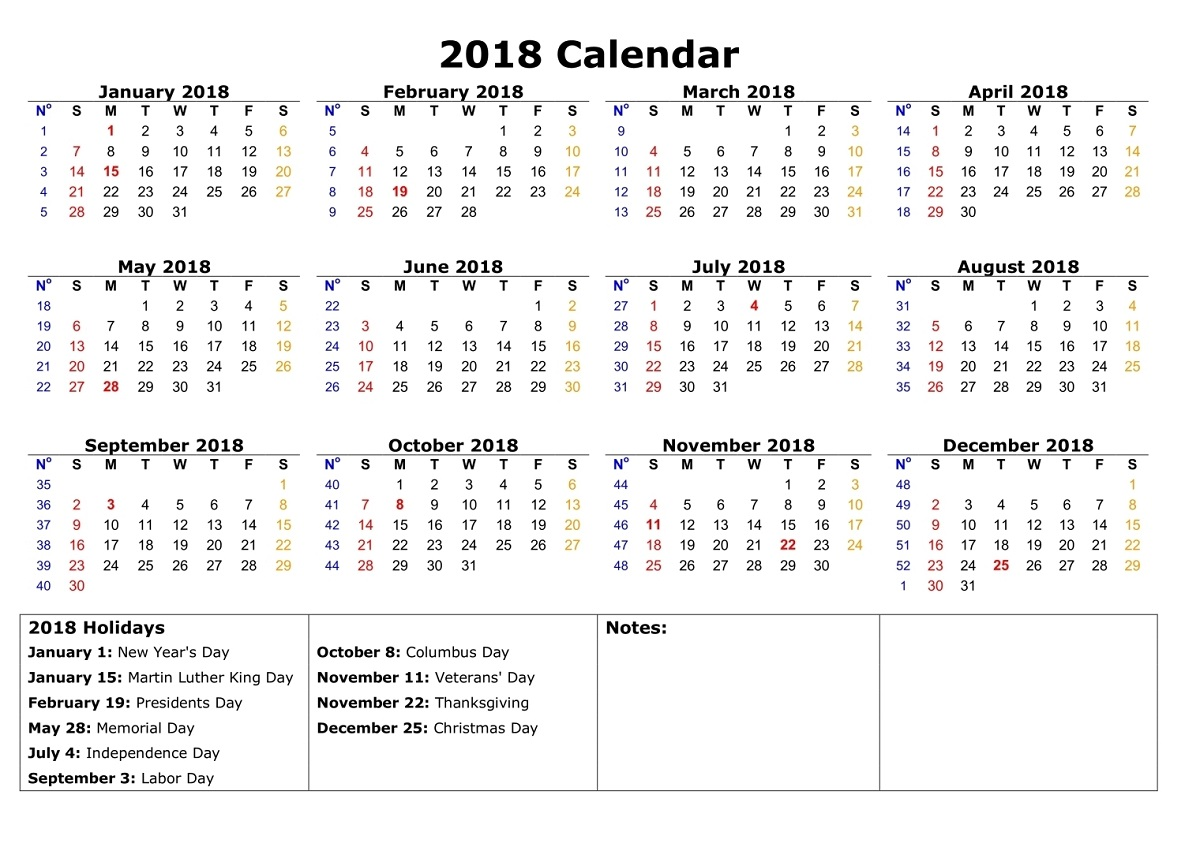 yearly calendar 2018 printable holiday