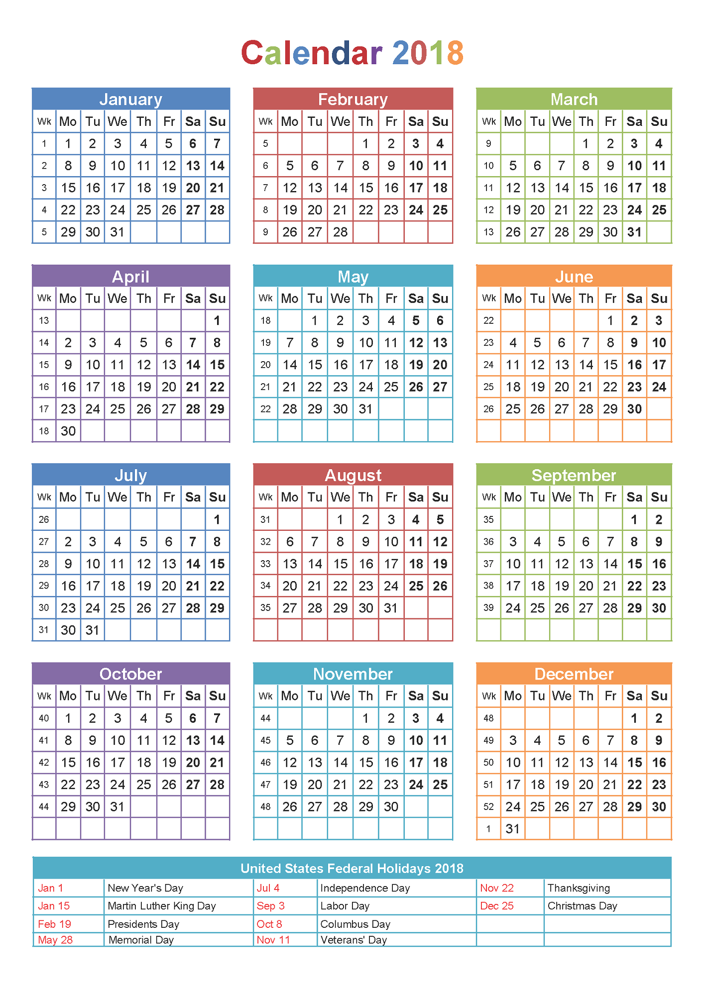 yearly calendar 2018 printable large