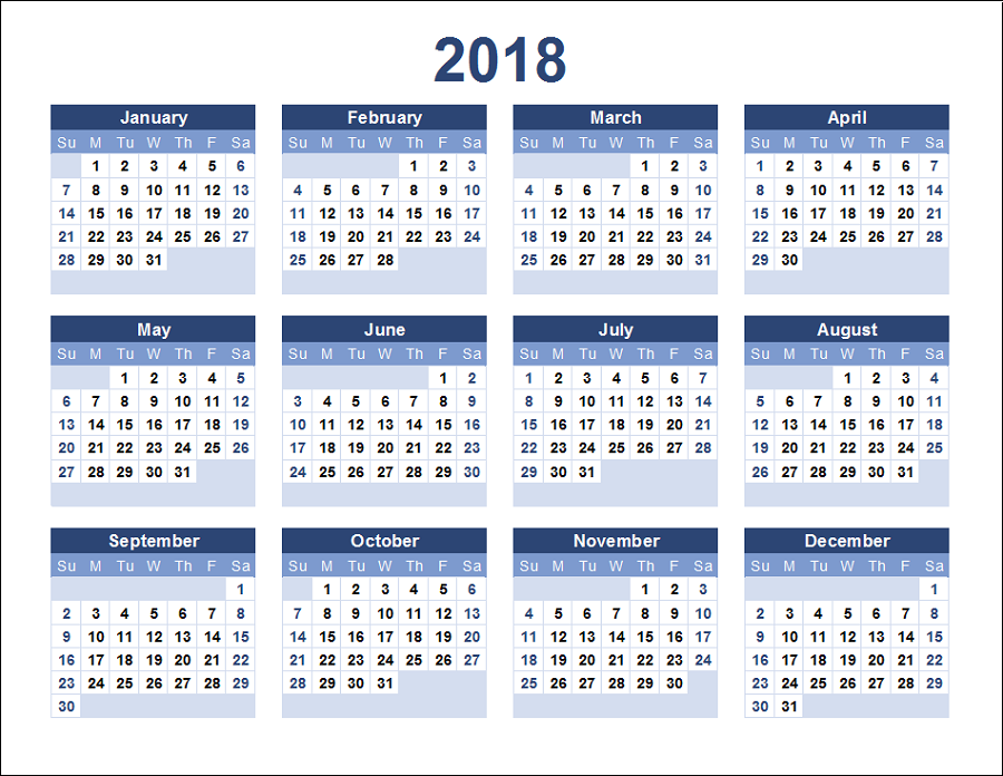 yearly calendar 2018 printable one page