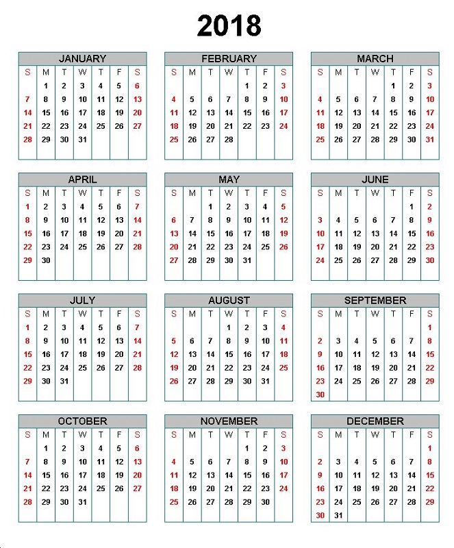 yearly calendar 2018 printable simple