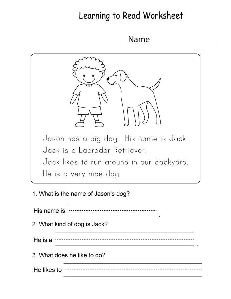 Kids Learning Sheets Reading