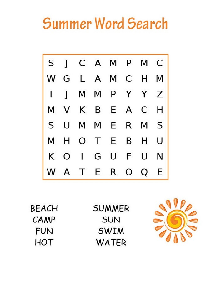 easy word search for kids summer