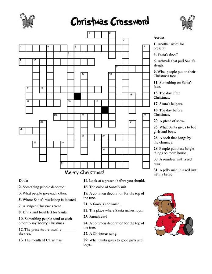 free crosswords for kids christmas