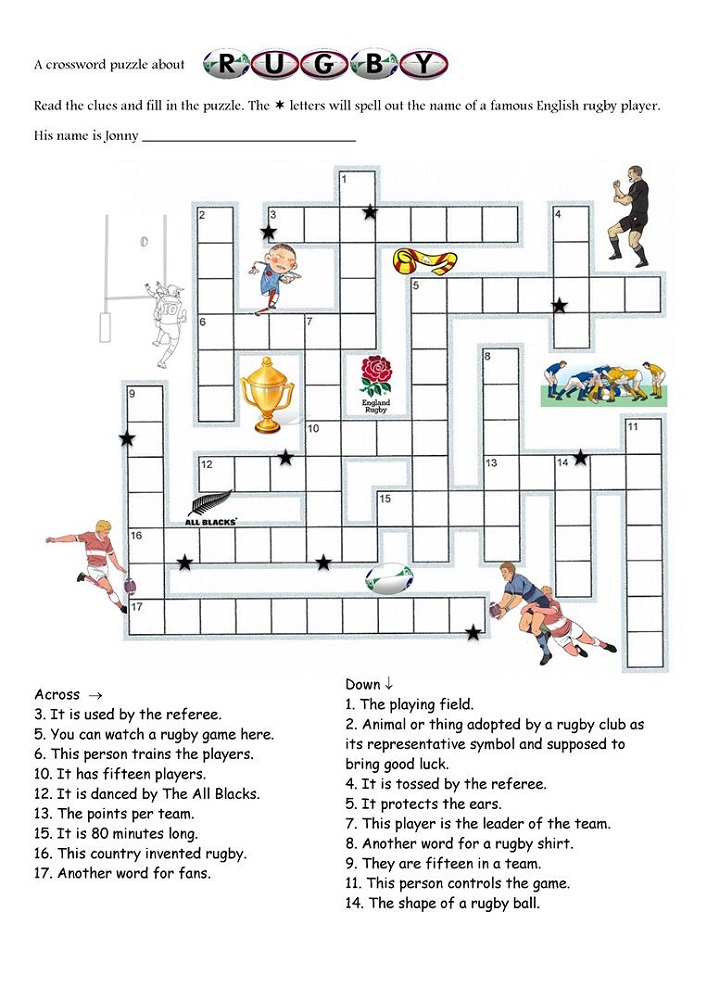free crosswords for kids sport