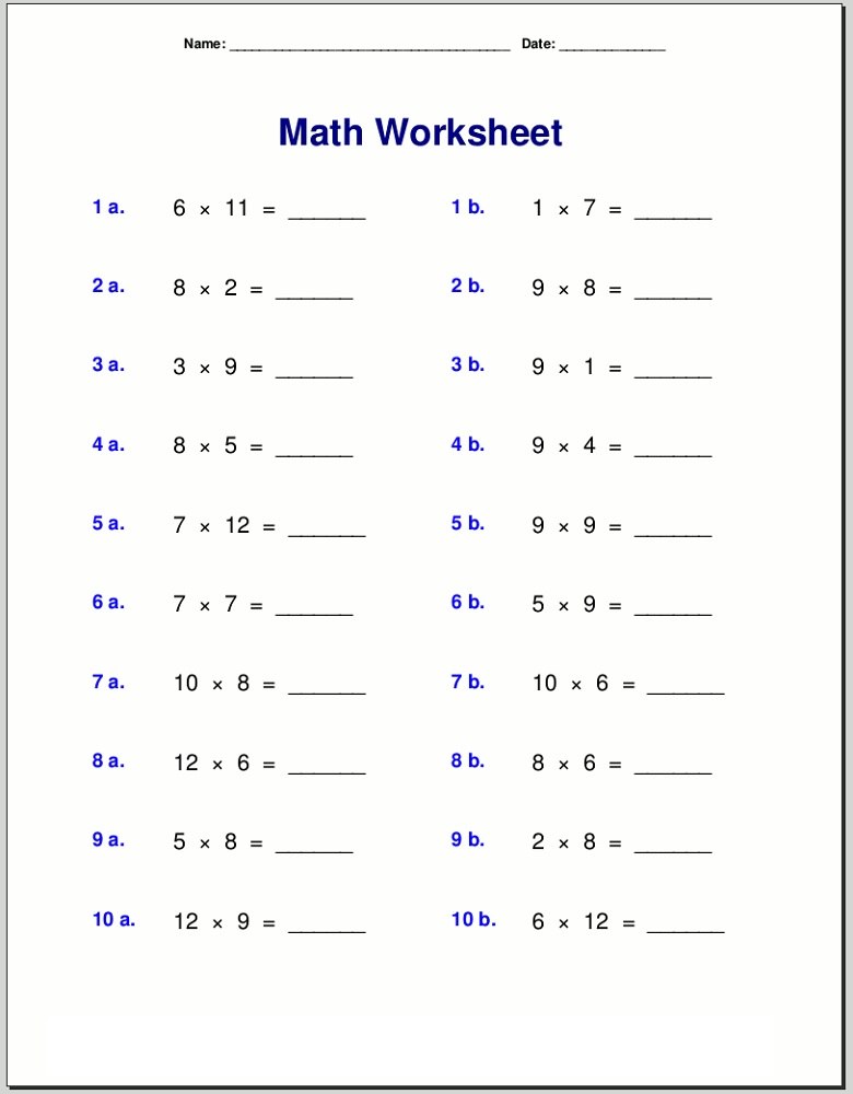 free times table worksheets grade 3