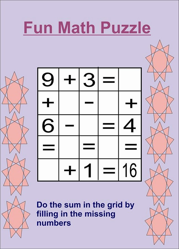 fun puzzle worksheets math