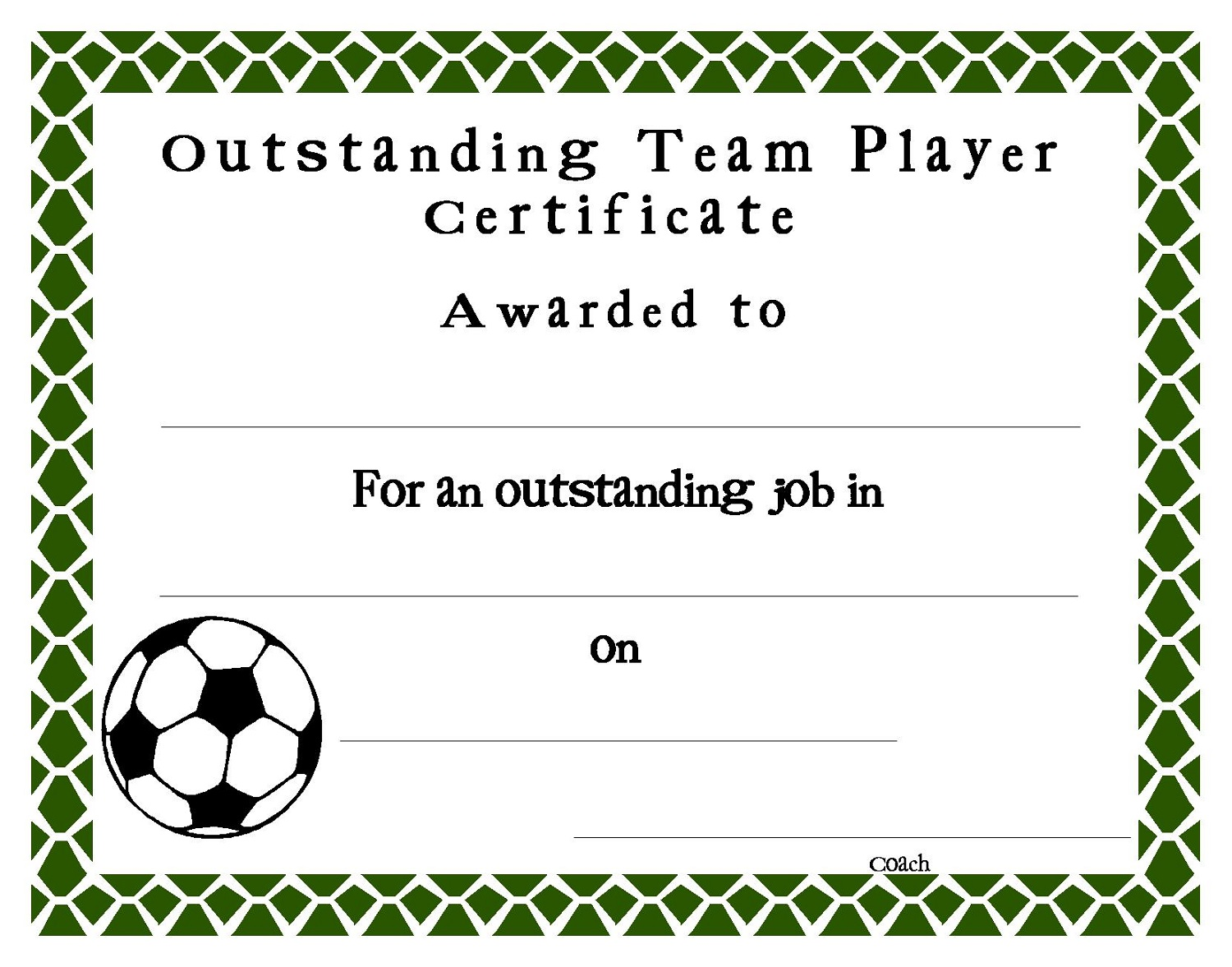 soccer certificate templates blank