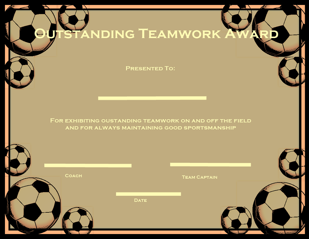 soccer certificate templates team