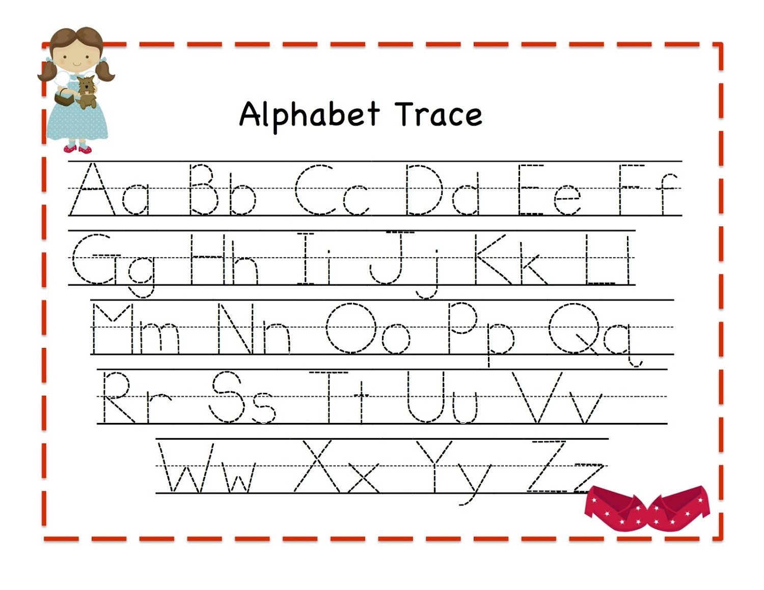 traceable alphabet letters worksheet
