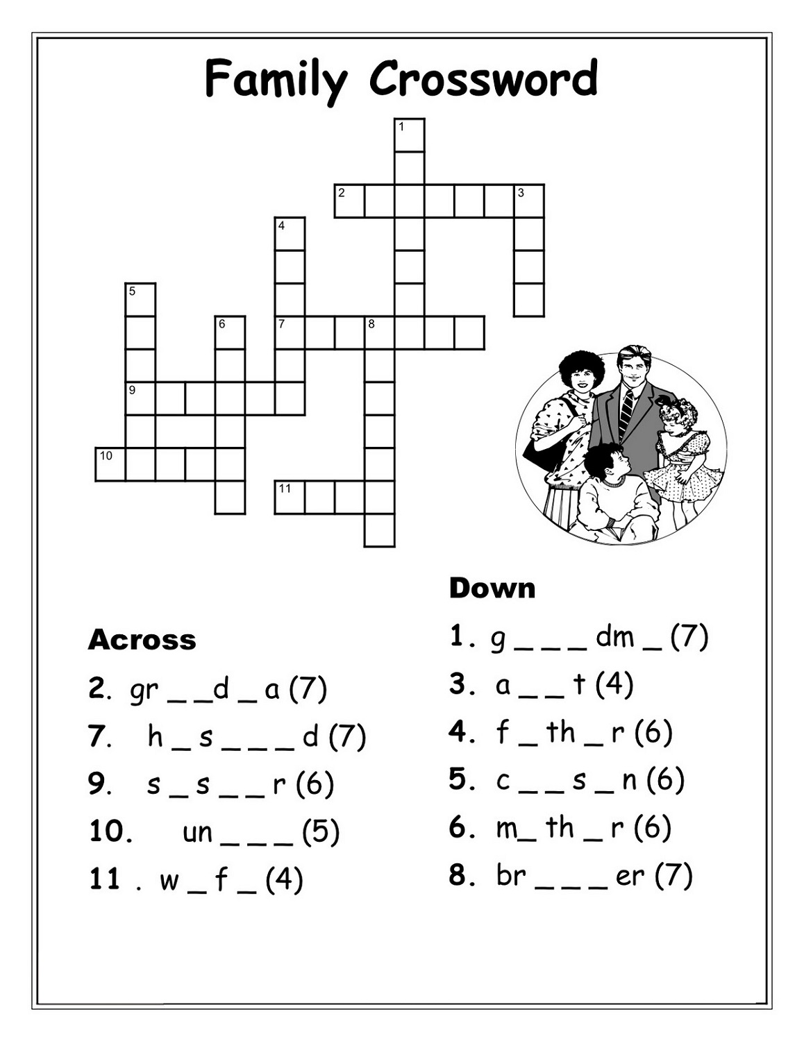 very easy crossword puzzles family